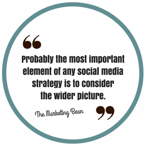 Probably the most important element of any social media strategy is to consider the wider picture.